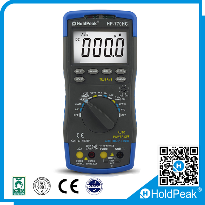 True RMS lcd display Digital Multimeter with NCV Feature and Temperature Frequency Duty Cycle Test