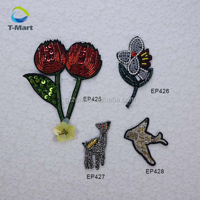 3D Handmade Sequin Beads Patches Cherry, Pets, flower Patches for kids garment