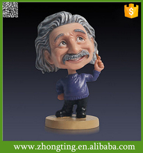 Factory direct hot sale funny souvenir gift ceramic Bobble Head Cartoon einstein sculpture