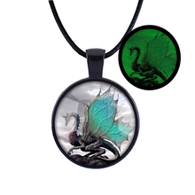 natural glowing luminous necklace / retro glow in the dark dragon pendant necklace