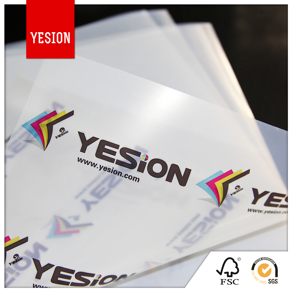 Yesion High Qulaity Factory Wholesale A4 Transparency PET Film For Inkjet Printers