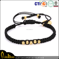 4 mm New Fashion Black Braided Customize Rope Bracelet For Men Punk Round Bead Jewelry