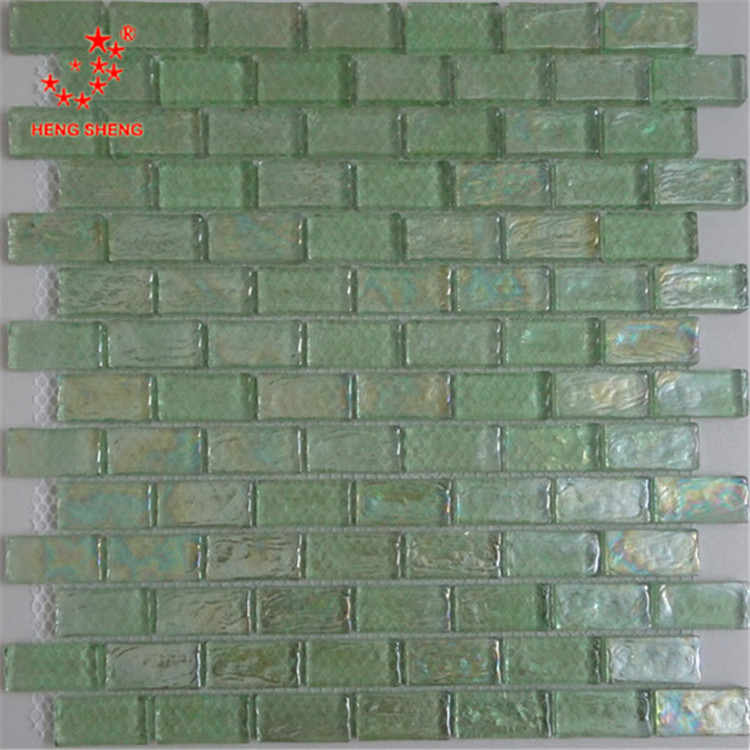 HA12 Light green recycle glass mosaic wall tile for home decoration