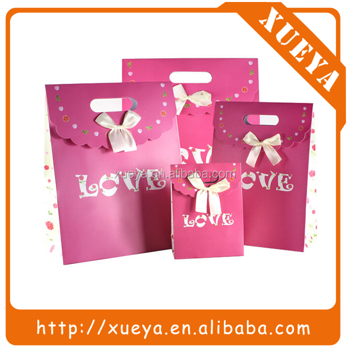 love story Valentines day decorative unique rose pink paper bag