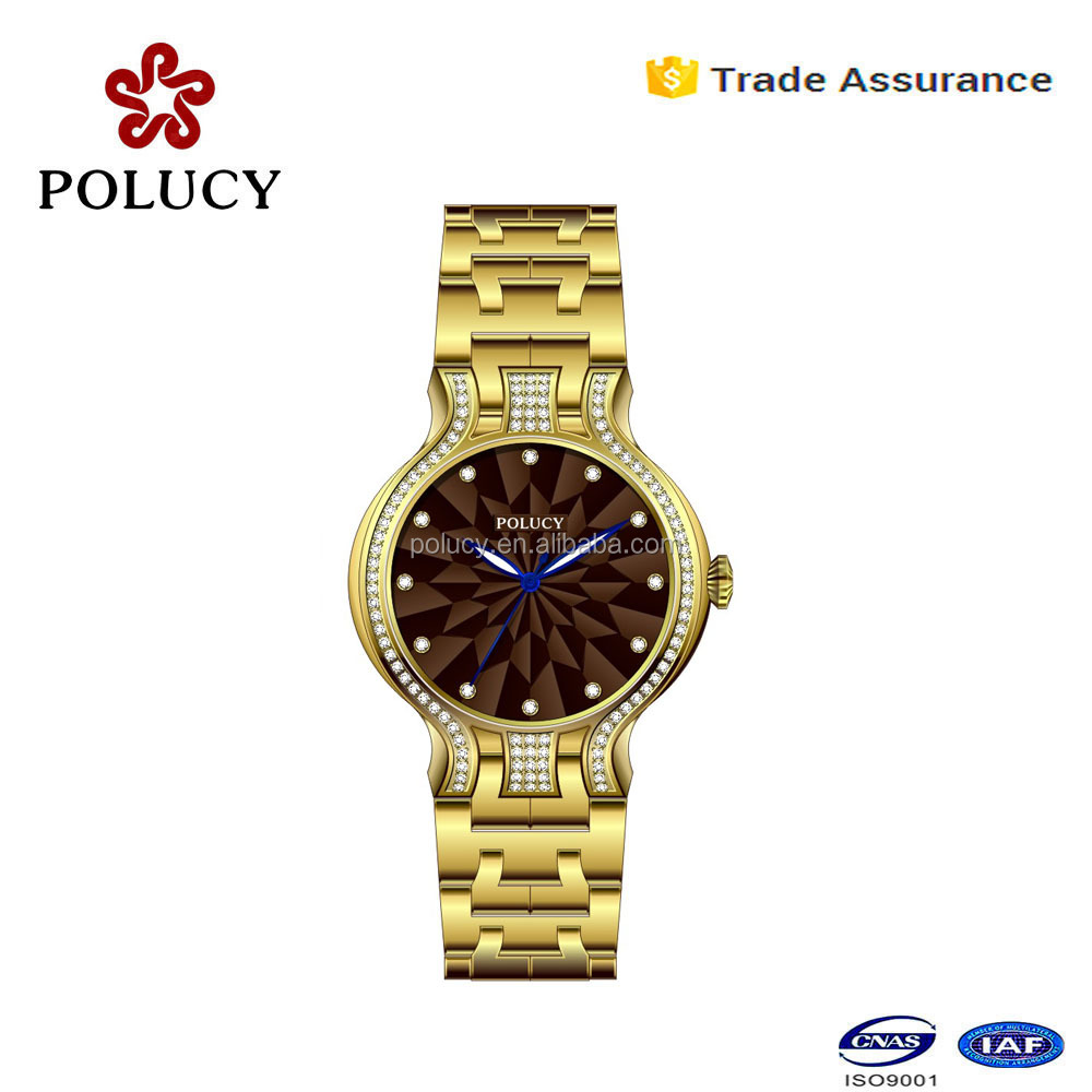 2016 branded watch 316 stainless steel gold color jewelry slim stone watch for girls