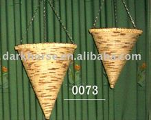 Two Pieces Cone Rattan Hanging Basket