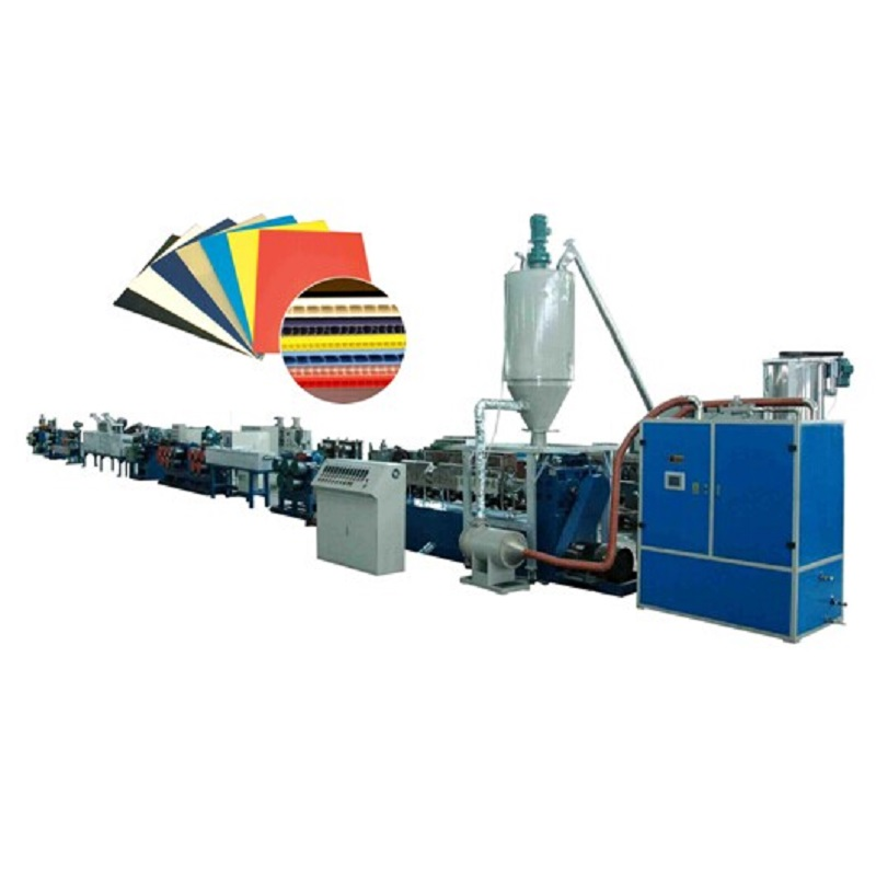 China pp pc hollow profile board extrusion line