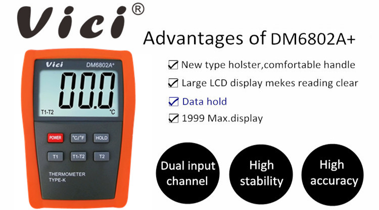 DM6802A+ 1999 digits lcd display electrical thermometer 1300C 1999F