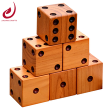 3.5 inch varnished giant wooden yard dice with drilled dots