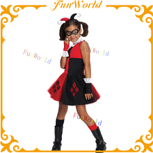 Hot selling little girl tutu dress red and black color halloween joker costume