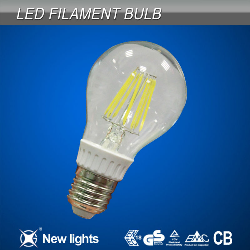 8w round led LED Filament Bulb wide angle indoor led insert light