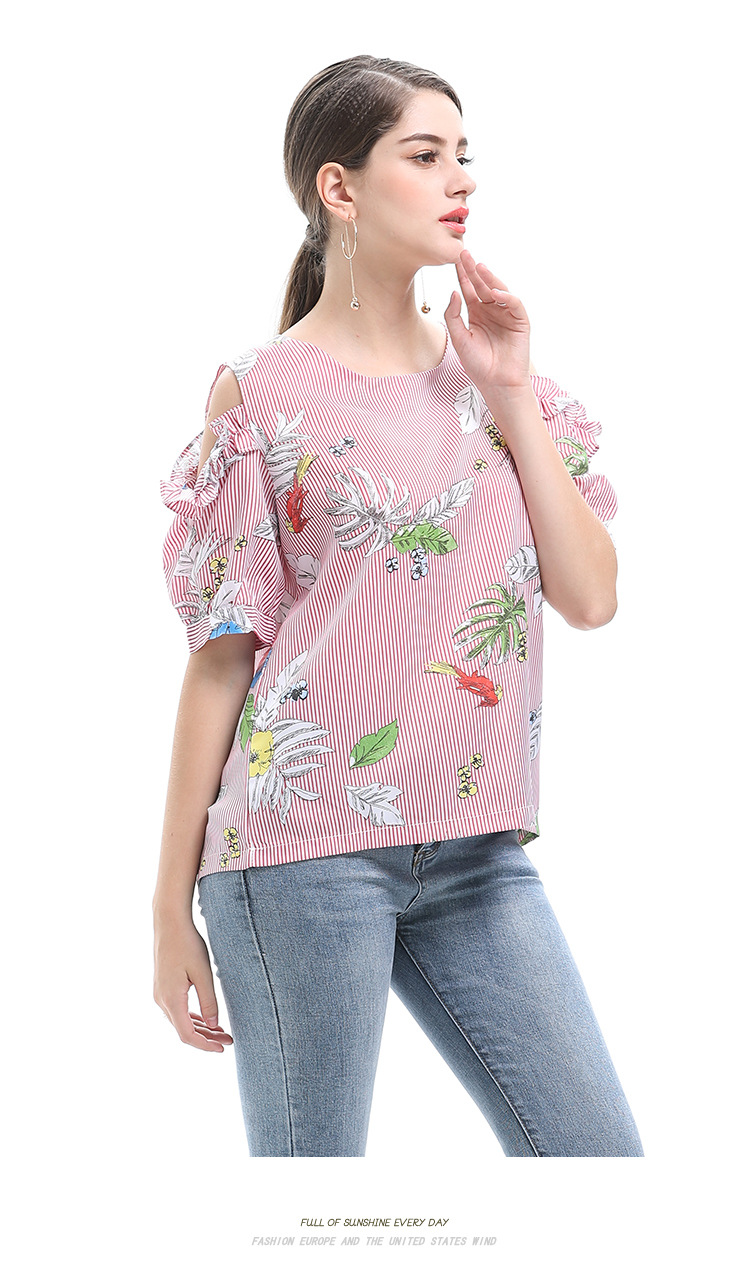 2018 Women's New Fashion Neck Print Off Shoulder Fresh Sweet Short Sleeve Tops Women's T-Shirts