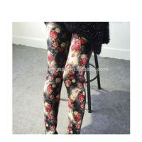 Winter Warm Sexy Rose Printed Ladies Add Fleece Stretch Leggings