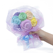 High quslity lovely scented soft PU foam colourful rose shape slow rising squishy toy for valentine's day gift