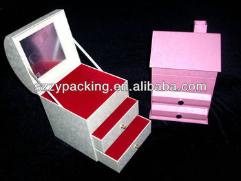 house shape jewellery gift box with mirror and velvet
