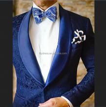 HD059 Elegant Patterns Fabic 2017 Blue Men Suits Formal Party Tuxedos Shawl Lapel Satin Men Suit Custom Stylish Blazer With Pant