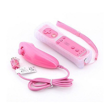 pink Remote And Nunchuck Controller Set for Wii With Built in Motion Plus+ Case Skin