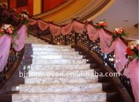 Glitter pink crystal organza stair ribbon for armrest /organza banisters belt for wedding stair decoration