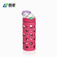 Factory price plastic cap flip top portable travel drink reusable water container 450ml glass bottle silicone sleeve with straw