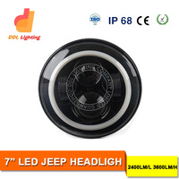 Manufacturer hot selling 40w 7inch crees round led headlight with hi low beam daytime running lights for Jeep wrangler