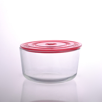 Wholesale borosilicate glass bowl food container with plastic lid