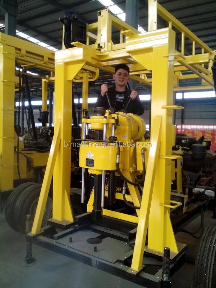 130m borehole diesel engine water well drilling rig machine
