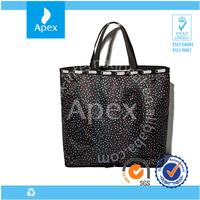 star printed foldable tote shopping bag with bottom zipper