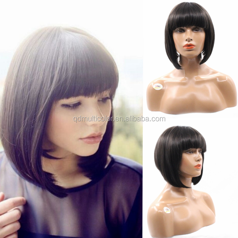 6inches short straight hair with natural bangs none lace bob synthetic wig heat resistant for women /lady /girl/ student