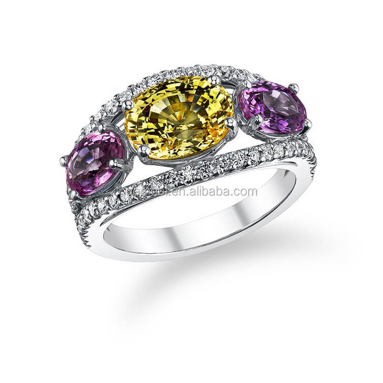 Gemnel discount yellow sapphire amethyst promise wedding rings