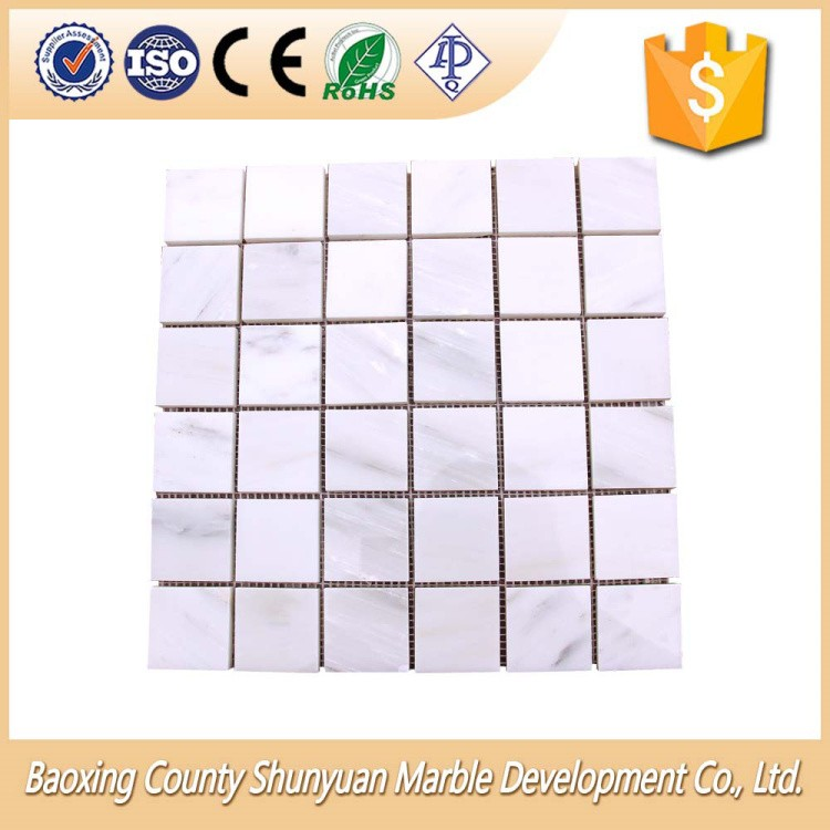 Nature White Travertine Square Shape Stone Marble Mosaic Tile