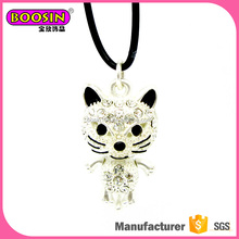 2017 fashion new design alloy enamel metal jewelry cute cat jewel necklace