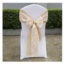 White Lace Mixed Burlap Chair Sash For Weddings/ Banquet/Party
