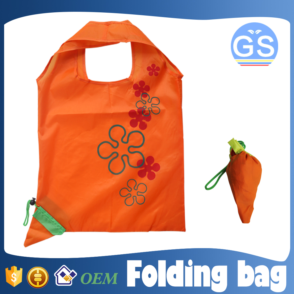 OEM factory direct suppy carrot foldable shopping bag 190T polyester cheap
