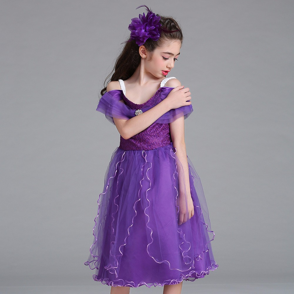 2017 Hot Selling Girl's Party Dress Flower Lace Girl Dress Children Frock Designs Party Wear Dress LM8807