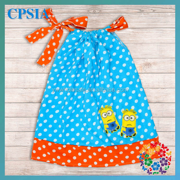Cute Turquoise Polk Dot Baby Girl Dresses Mr.Minion Cosplay Costume Summer Dress 2014 Cheap Little Girl Pageant Dresses