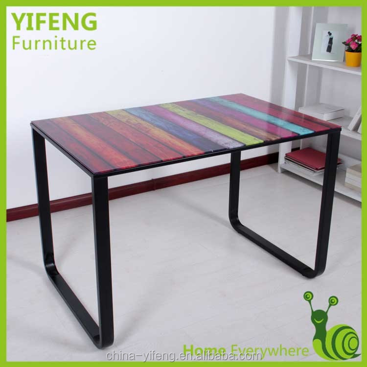2014 modern artificial glass used restaurant table and chairs, dinning table