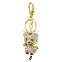 Stylish Golden Plated Crystal Tiger Animal Pendant Keychain For souvenir