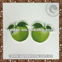 Promotional gifts Eco-friendly green apple hanging paper air freshener for car