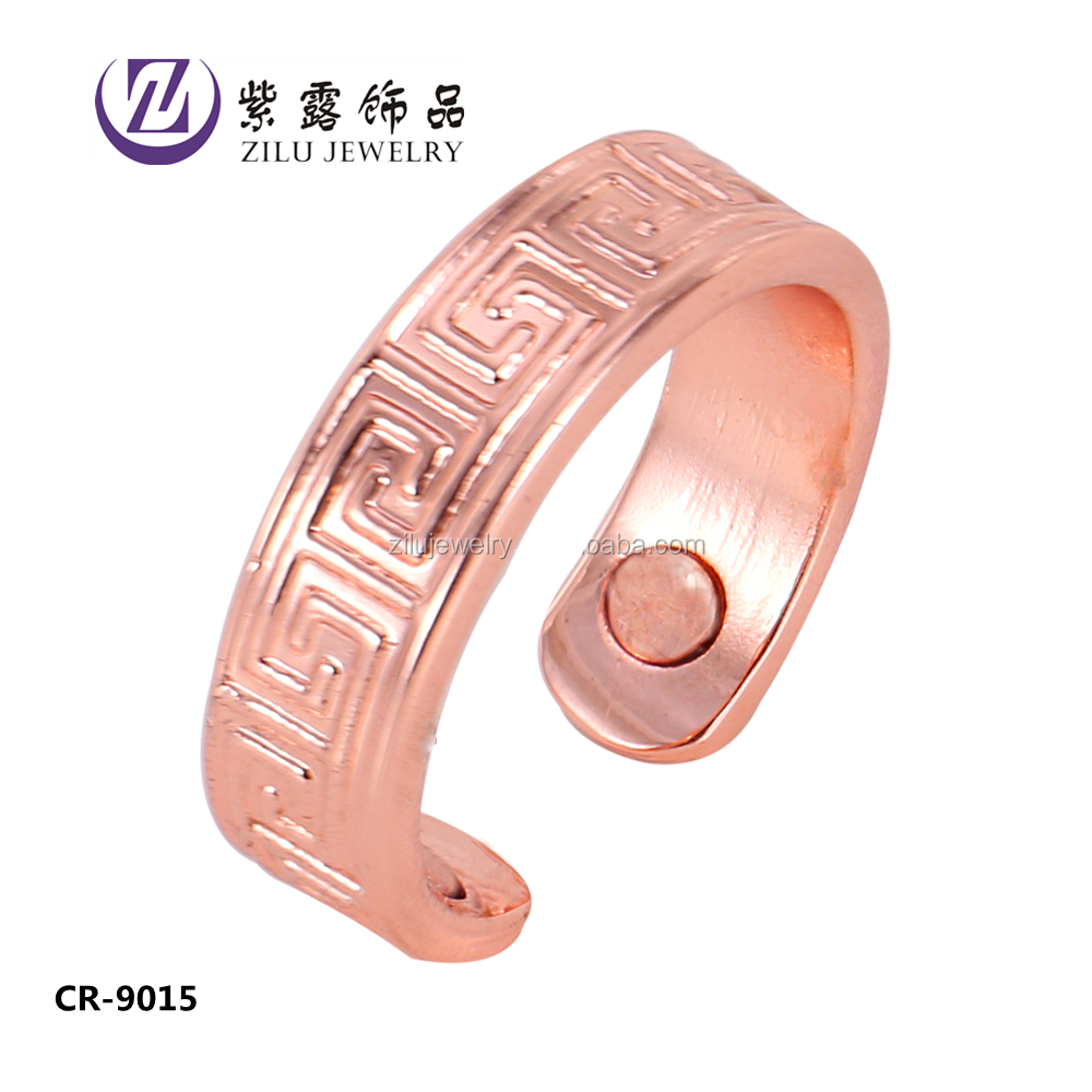 Copper magnetic CR-9015 Cuff copper gold finger ring rings design for women with price