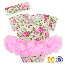 Wholesale Kids Clothing Baby Girls Pom Romper Organic Cotton Frock Ruffle Designs Toddlers Romper Baby Tutu Romper