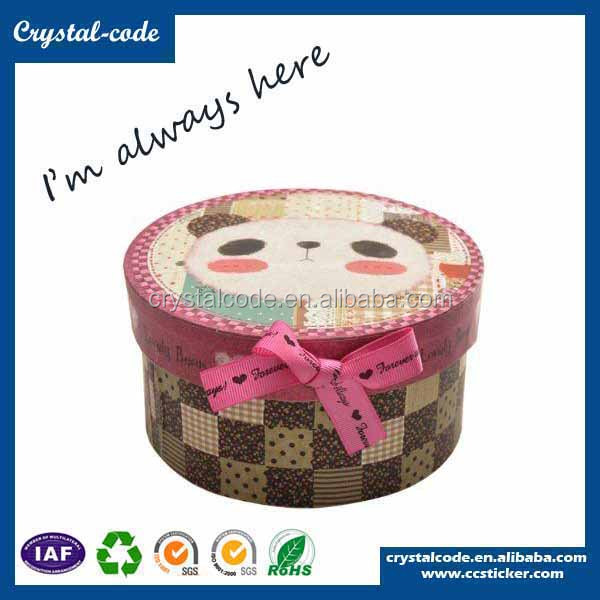 Fancy kraft paper clothing knitted fabric tube round hat boxes with lids