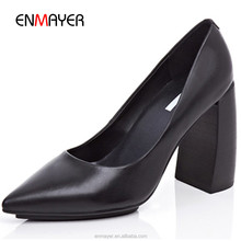Wholesale elegant pointed-toe women chunky heel shoes Gunuine leather hand-made ladies formal shoes