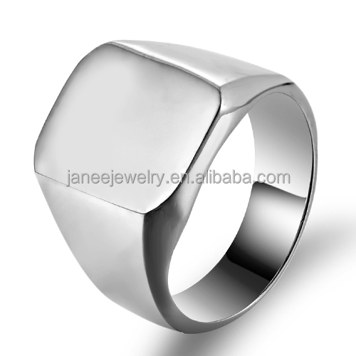 Wholesale Engravable Silver Polished Stainless Steel Band Biker Men Signet <strong>Ring</strong>