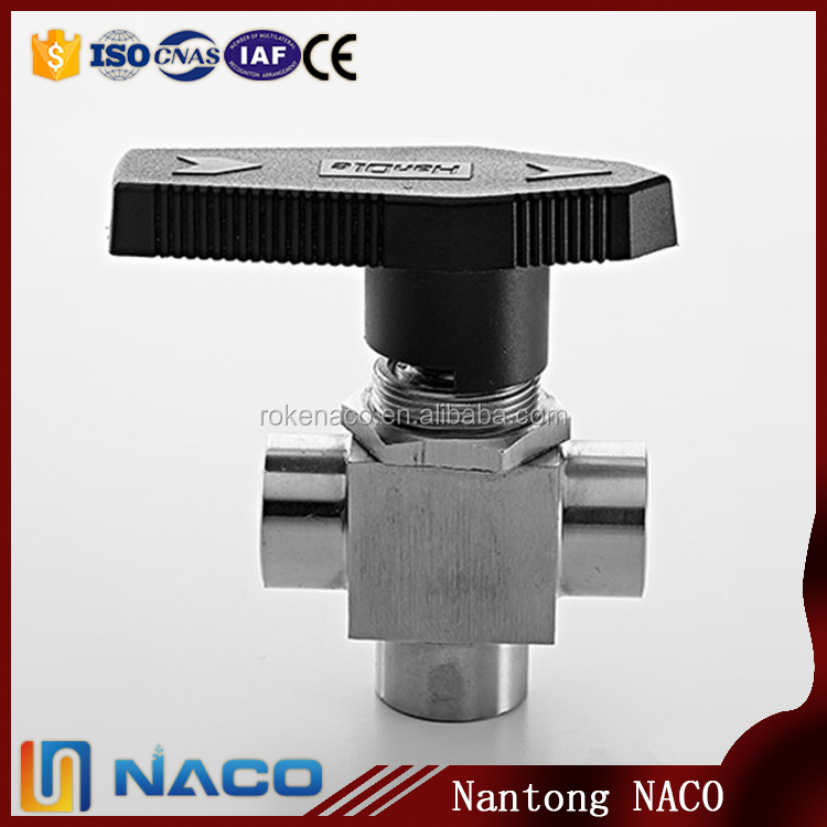 1/2 Npt Ss304 One-piece Instrumentation 3 Way Female Thread Manual Ball Valve