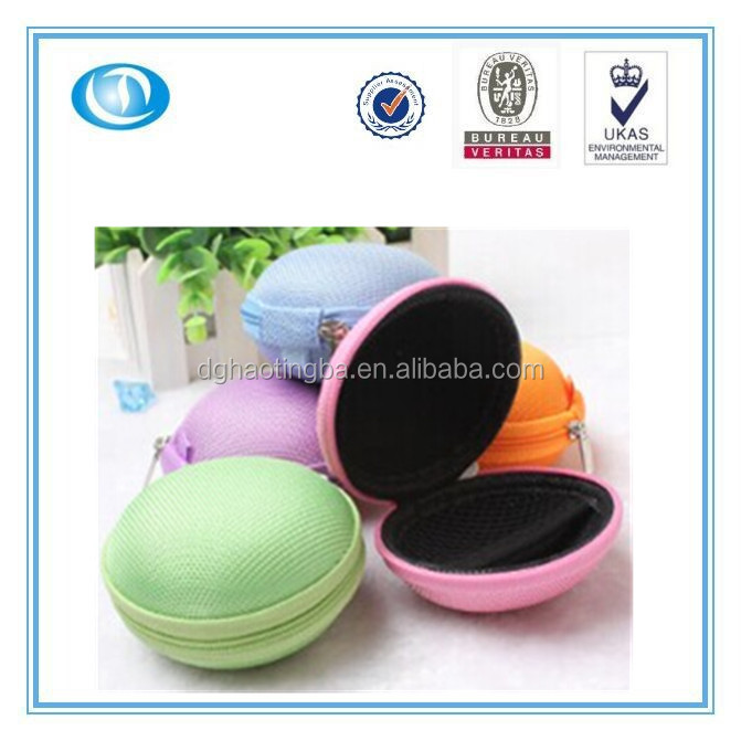 a beautiful and fashion small round portable Chinese EVA earphone case/bag
