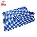 Portable Folding Blanket w/Waterproof Bottom Plaid Fleece Camping Outdoor Blanket