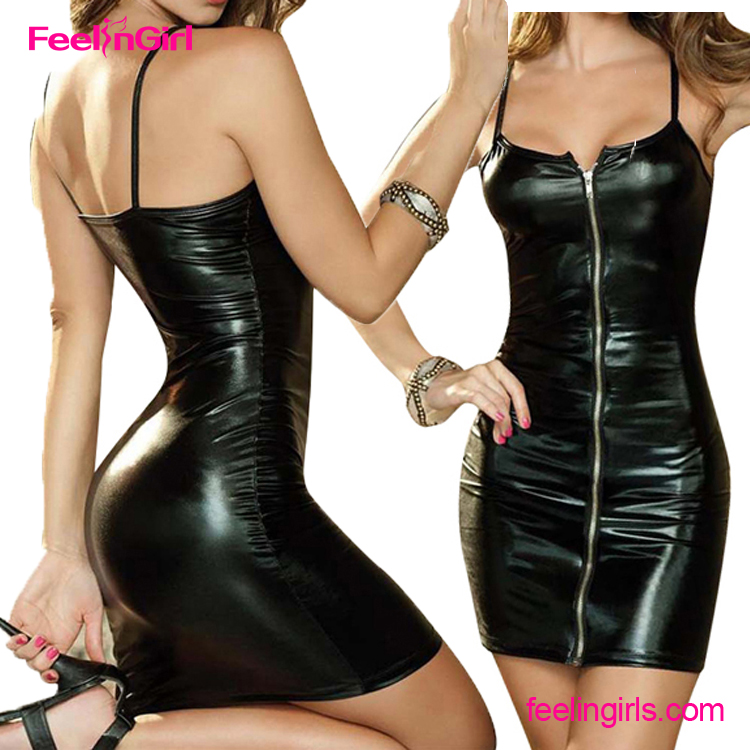 2016 Latest Style Front Zipper Straps Patent Girls Party Sexy Leather Dress