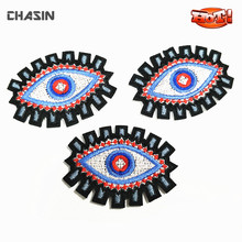 Wholesale Indian Stick On Fabric Embroidery Applique, Embroidered Applique Evil Eyes