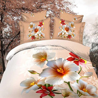 New 3d 100% polyester bright color beautiful bedding set printed wedding bed sheet bedding set