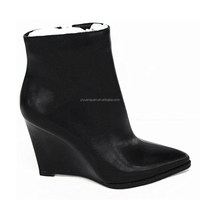 Black Wedge ankle boots classy sharp toe wedge ankle boots